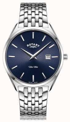 Rotary Ultra Slim Silver Blue Dial Watch GB08010/05