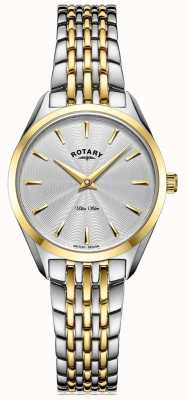 Rotary Ultra Slim Ladies Two Tone Bracelet Watch LB08011/02