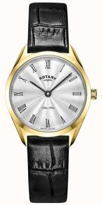 Rotary Ultra Slim Ladies Gold Leather Watch LS08013/01