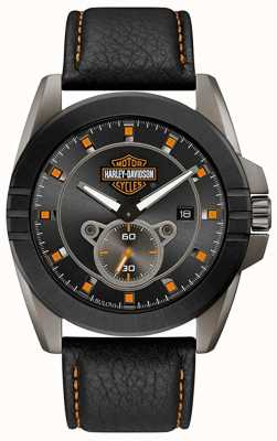 Harley Davidson Men's For Him! | Black Leather Strap | Grey Dial 78B182