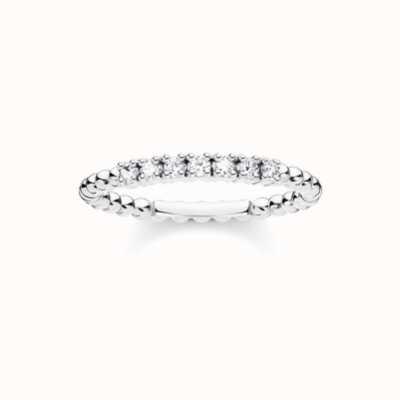 Thomas Sabo Sterling Silver White Stone Dot Ring EU 54 (UK N) TR2323-051-14-54