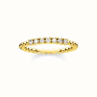 Thomas Sabo Gold Plated Ehite Stone Dot Ring Size EU 52 (UK L 1/2) TR2323-414-14-52