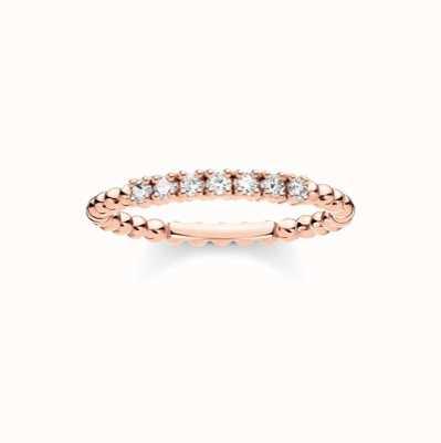 Thomas Sabo Rose Gold White Stone Dot Ring EU 54 (UK N) TR2323-416-14-54