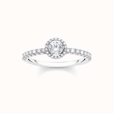 Thomas Sabo Sterling Silver White Stone Ring Size EU 52 (UK L 1/2 ) TR2326-051-14-52