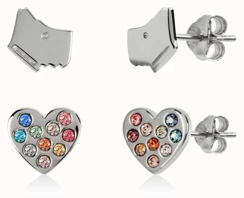 Radley Jewellery Sterling Silver Dog & Coloured Stone Heart Earring Set RYJ1139