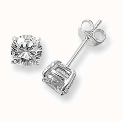 Treasure House Silver Cubic Zirconia 6mm Round Stud Earrings G5136CZ