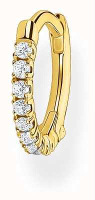 Thomas Sabo 18k Yellow Gold Single Hoop Earring | White Stones 12mm CR658-414-14