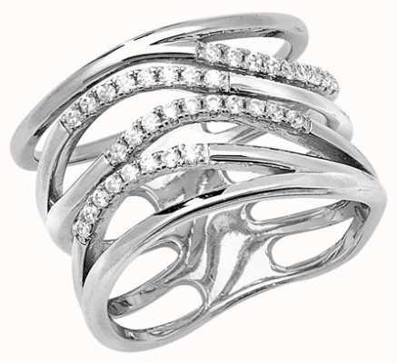 Treasure House Silver Cubic Zirconia Ladies Wave Ring G7513 J4687
