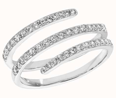 Treasure House Silver Cubic Zirconia Rhodium Plated Line Ring Size O/P G7165