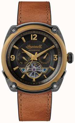 Ingersoll THE MICHIGAN | Watch Winder |Brown Strap Black Dial I01104