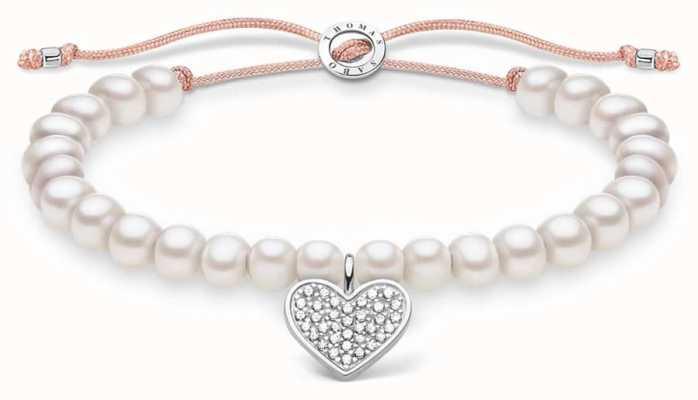 Thomas Sabo White Pearl Adjustable Bracelet | Pave Heart 13 cm to 20 cm A1986-199-14-L20V