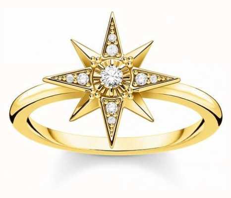 Thomas Sabo 18k Yellow Gold Plated Star Ring | EU 54 (UK N) TR2299-414-14-54