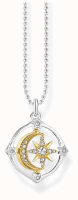 Thomas Sabo Sterling Silver Movable Moon & Star Pendant Necklace KE1966-414-7-L42V