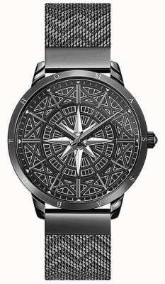 Thomas Sabo Men's Spirit | Black Mesh Bracelet | 3-D Compass Black Dial WA0374-202-203-42