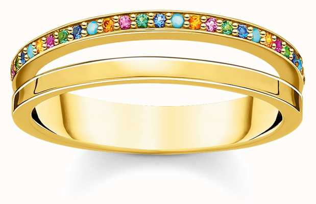 Thomas Sabo Gold Coulourful Stone Dot Ring | UK Size N (54) TR2316-488-7-54