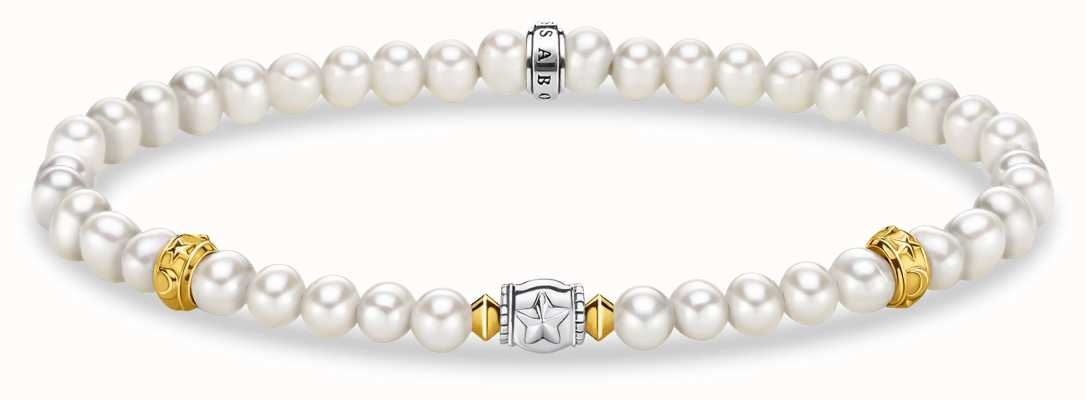 Thomas Sabo Freshwater Pearl Bracelet | 18k Yellow Gold Plated Moon A1979-430-14-L15,5