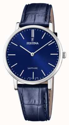 Festina Men's Swiss Made   Blue Leather Strap   Blue Dial F20012/3
