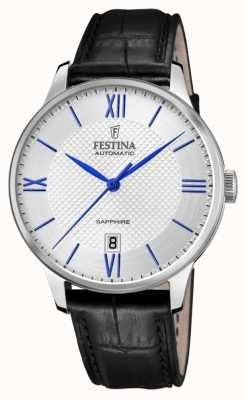 Festina Men's Automatic | Black Leather Strap | Silver Dial | Blue Markers F20484/1