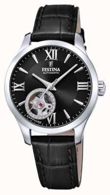 Festina Women's  Automatic | Black Leather Strap | Black Dial F20490/3