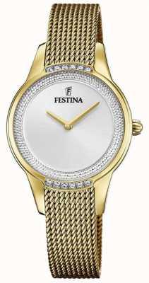Festina Women's Gold Plated Steel Mesh Bracelet | Silver Crystal Set Dial F20495/1