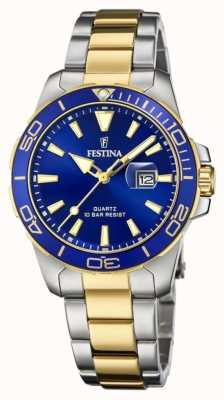 Festina Women's /Two-Tone Stainless Steel Bracelet | Blue Dial F20504/1