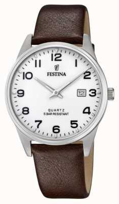 Festina Men's Brown Leather Strap | White Dial F20512/1