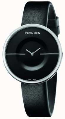 Calvin Klein Mania | Women's Black Leather Strap | Black Dial KAG231C1