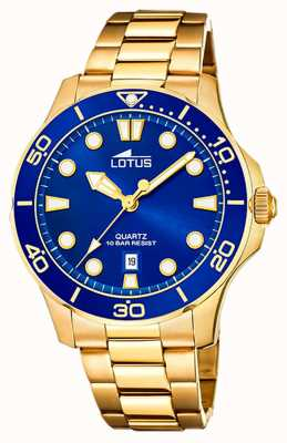 Lotus Men's Gold Plated Steel Bracelet | Blue Dial L18761/1