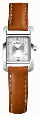 Michel Herbelin Vth Avenue | Brown Leather Strap | Silver Dial 17437/21GO
