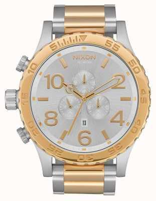 Nixon 51-30 Chrono | Silver / Gold | Two Tone Bracelet | Silver Dial A083-1921-00