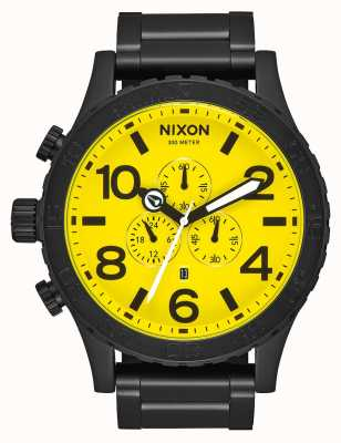 Nixon 51-30 Chrono | All Black / Yellow | Black IP Steel Bracelet | Yellow Dial A083-3132-00
