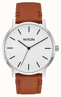 Nixon Porter Leather   White Sunray / Saddle   Brown Leather Strap   White Dial A1058-2442-00