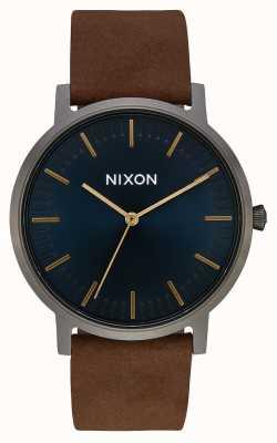 Nixon Porter Leather | Gunmetal / Indigo / Brown | Brown Leather Strap | Indigo Dial A1058-2984-00