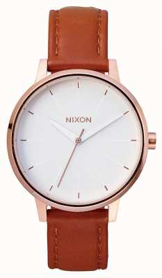 Nixon Kensington Leather | Rose Gold / White | Brown Leather Strap | White Dial A108-1045-00