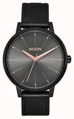 Nixon Kensington Leather | Black / Gunmetal | Black Leather Strap A108-1420-00