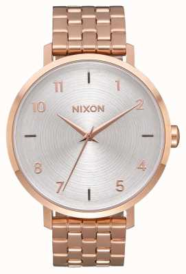 Nixon Arrow | All Rose Gold / White | Rose Gold IP Steel Bracelet | Silver Dial A1090-2640-00