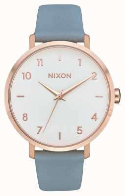 Nixon Arrow Leather   Rose Gold / Blue   Blue Leather Strap   White Dial A1091-2704-00
