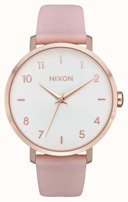 Nixon Arrow Leather   Rose Gold / Light Pink   Pink Leather Strap   White Dial A1091-3027-00