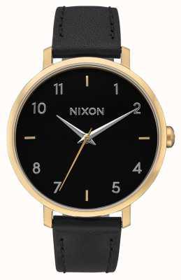 Nixon Arrow Leather | Gold / Black | Black Leather Strap | Black Dial A1091-513-00