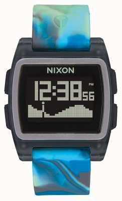 Nixon Base Tide | Blue Jellyfish | Digital | Multi-coloured Silicone Strap A1104-3176-00