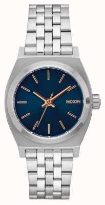 Nixon Medium Time Teller   Navy / Rose Gold   Stainless Steel Bracelet   Navy Dial A1130-2195-00