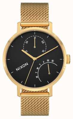 Nixon Clutch   Gold / Black   Gold IP Steel Mesh   Black Dial A1166-513-00