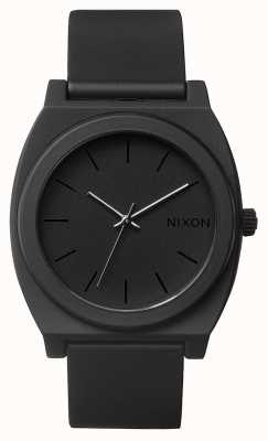 Nixon Time Teller P   Matte Black   Black Silicone Strap   Black Dial A119-524-00