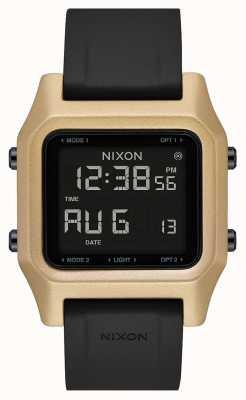 Nixon Staple | Black / Gold | Digital | Black Silicone Strap A1309-010-00