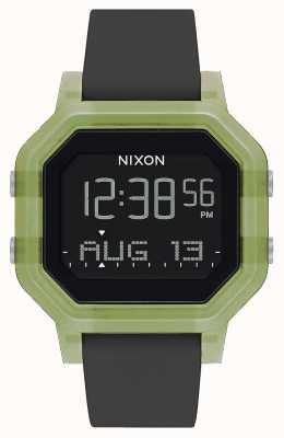 Nixon Siren   Clear Green   Digital   Black Silicone Strap A1311-3408-00
