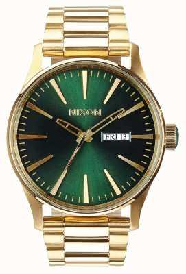 Nixon Sentry SS | Gold / Green Sunray | Gold IP Steel Bracelet | Green Dial A356-1919-00