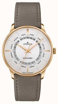 Junghans Meister Worldtimer Sapphire Crystal | Brown Leather Strap | Silver Dial 027/5012.02