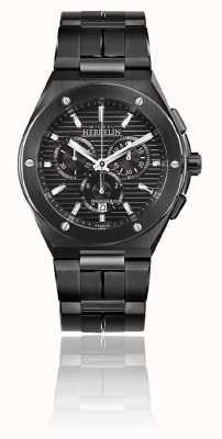Michel Herbelin Cap Camarat Chrono | Black Steel Bracelet | Black Dial 37645/BN14