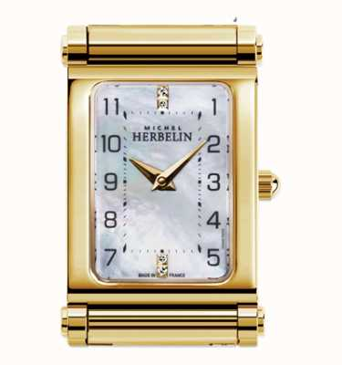 Michel Herbelin Antarès | Gold Plated Watch Face Only | Rectangle Dial H.17048/P79