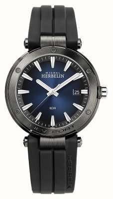 Michel Herbelin Men's Newport | Black Rubber Strap | Blue Dial 12288/G15CA